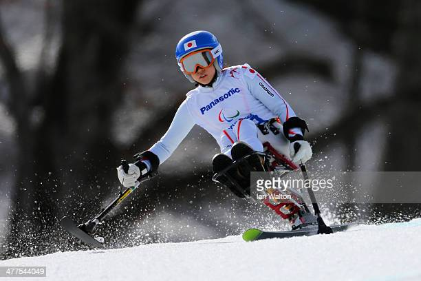 Monoka Muraoka of Japan competes in the Women's SuperG Sitting during day three of Sochi 2014 Paralympic Winter Games at Rosa Khutor Alpine Center on...