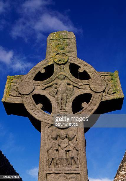 Monolithic high cross known as Cross of the Scriptures or King Flann's Cross in the monastic complex on the banks of the River Shannon Clonmacnoise...