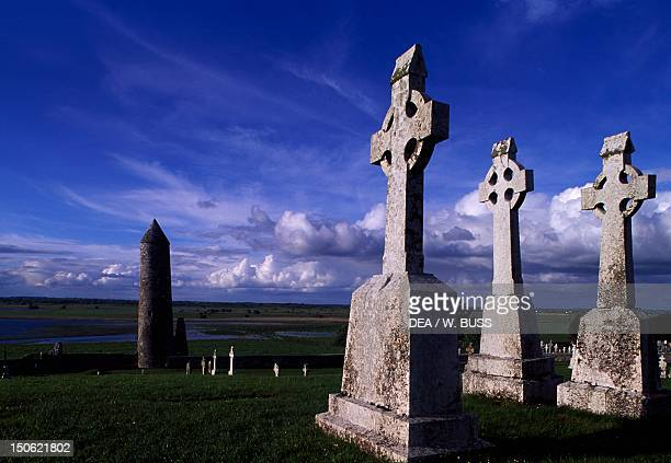 Monolithic high crosses in the monastic complex on the banks of the River Shannon Clonmacnoise Ireland