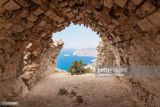 monolithos castle - dodecanese islands stock photos and pictures