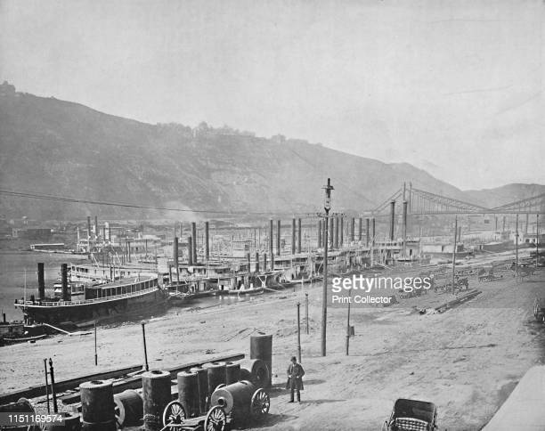 Monongahela Wharf Pittsburgh Pennsylvania' circa 1897 Monongahela Wharf on the Monongahela River was a busy port for steamboats tugboats and...