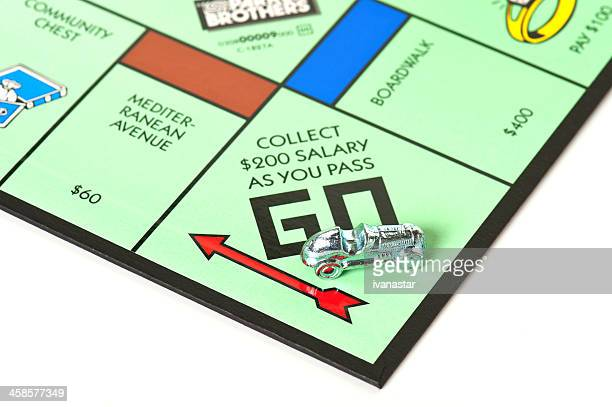 Monopoly Board Game Focused on Go Field and Car