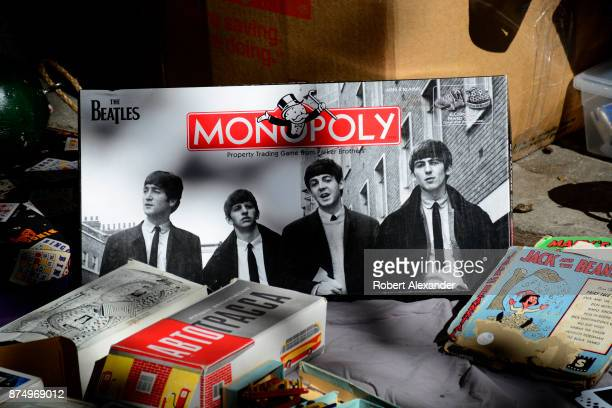 Monopoly board game with a Beatles theme is among the items for sale at a flea market in the Chelsea district of New York City