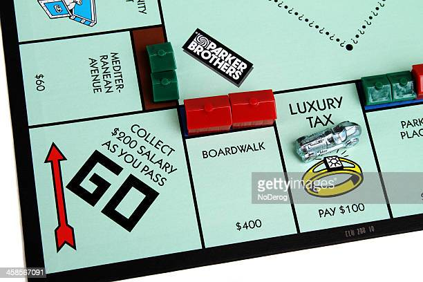 Monopoly board showing Luxury Tax and Go squares