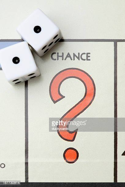 monopoly game board chance with dice. - special:random stock pictures, royalty-free photos & images