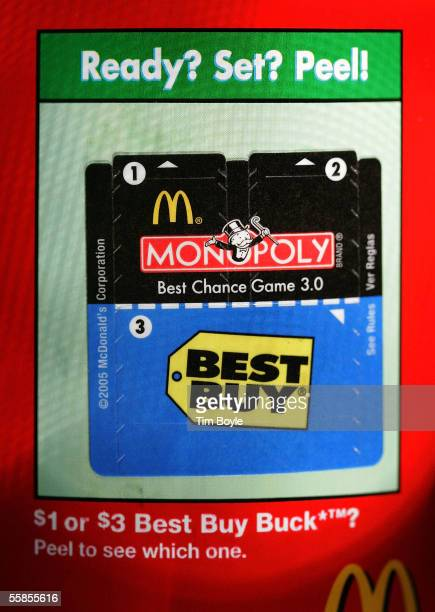 Monopoly game tickets are seen on a package of McDonald's french fries October 5 2005 in Des Plaines Illinois McDonald's partnered with Best Buy has...