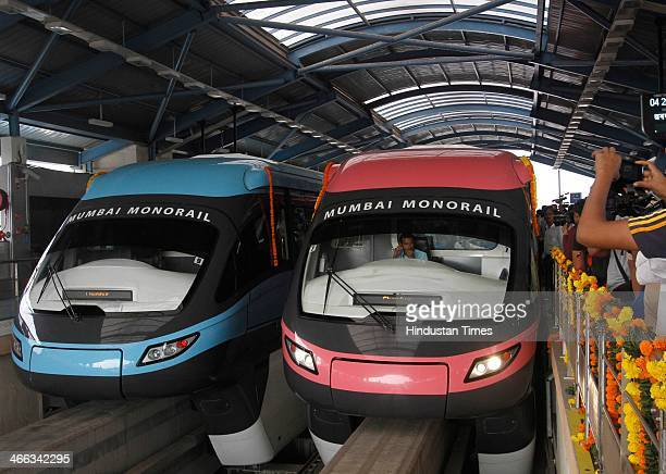 Monorail after it was inaugurated by Maharashtra Chief Minister Prithviraj Chavan from Wadala to Chembur on February 1 2013 in Mumbai India Chavan...