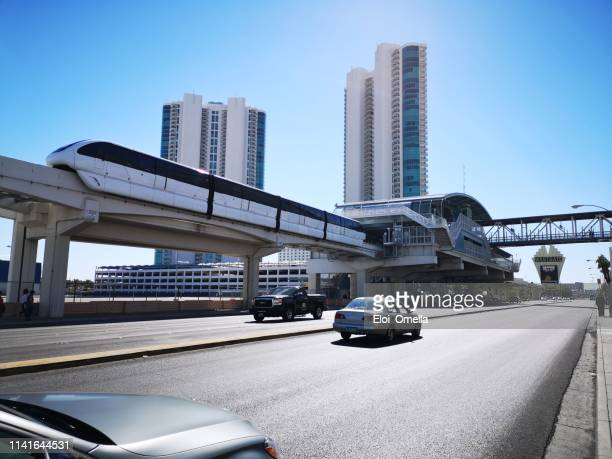 monorail arriving to station on the las vegas strip, nevada, usa - monorail stock pictures, royalty-free photos & images
