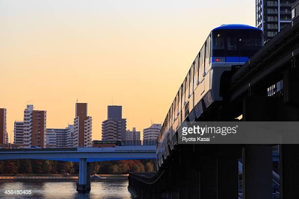 Monorail at dusk