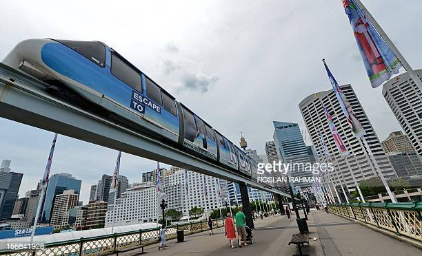 A monorail carriage plies across Darling Harbour in downtown Sydney on November 92012 Earlier this year the New South Wales government announced the...