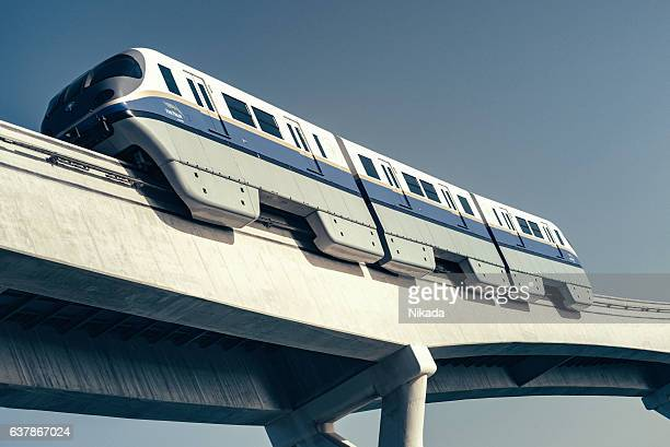 monorail in dubai, united arab emirates - monorail stock pictures, royalty-free photos & images