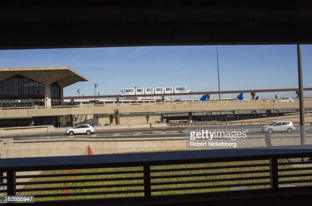 Monorail passenger train moves through the Newark Liberty International Airport March 9, 2013 in Newark, New Jersey.