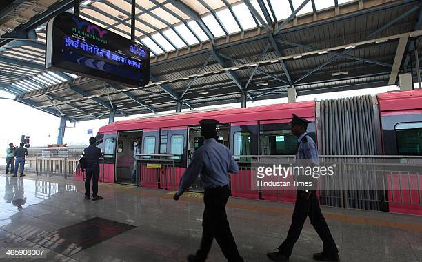 Monorail standing on a platform of the station during its trial run on January 30 2013 in Mumbai India The country's first Monorail service will be...