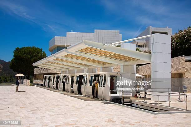 Monorail station, Los Angeles Museu e Centro Cultural Getty Center em Brentwood, Los Angeles, Califórnia, projeto do arquiteto Richard Meier.