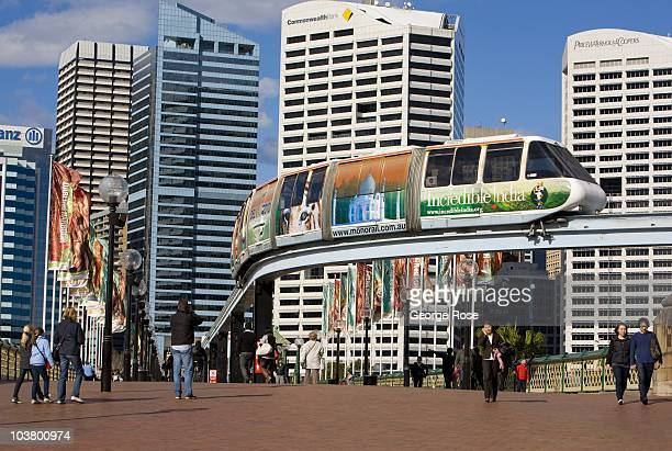 A monorail train approaches a Darling Harbour stop on August 10 2010 Sydney Australia Sydney a major destination for global travelers was the host...