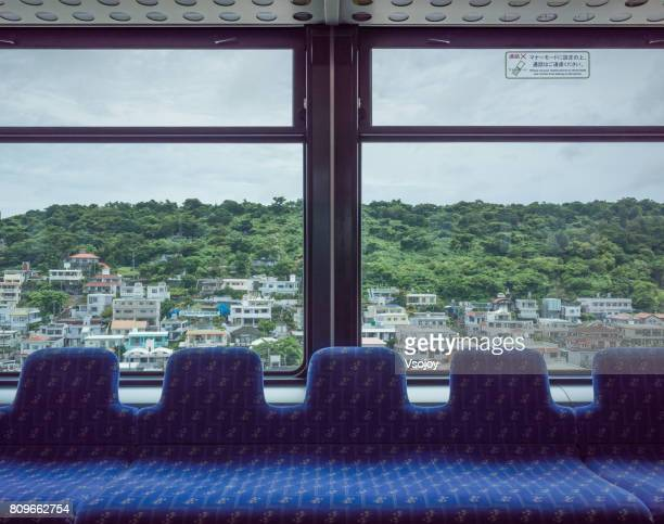 monorail train compartment, naha, okinawa, japan - railroad stock pictures, royalty-free photos & images
