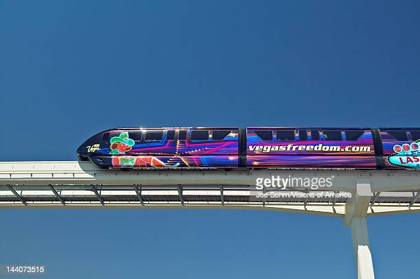 Monorail train with tourists in Las Vegas NV