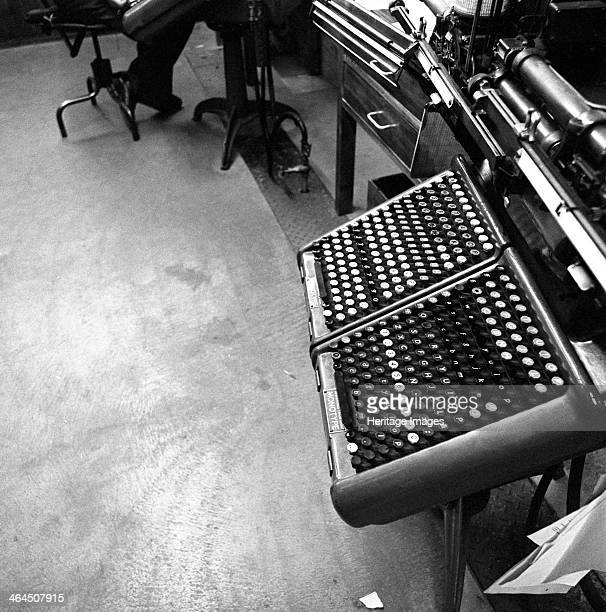 A monotype keyboard at the White Rose Press Mexborough South Yorkshire 1968 The monotype operator's keystrokes caused a reel of paper to be...