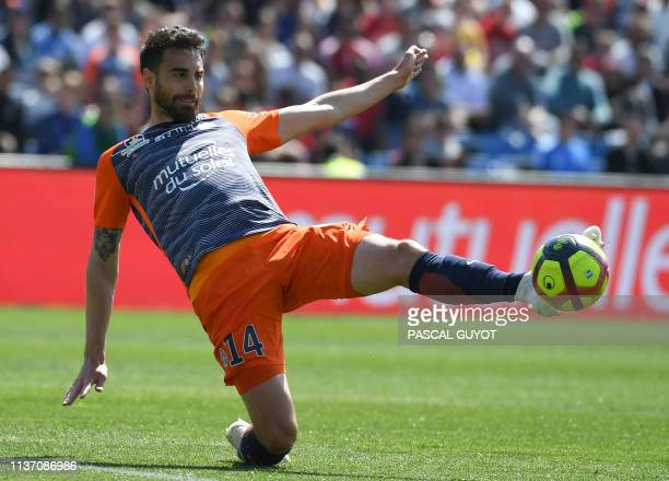 Monptellier's French defender Damien Le Tallec controls the ball during the French L1 football match between Montpellier and Toulouse on April 14...