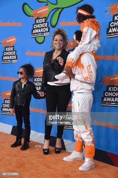 Monroe Cannon Mariah Carey Nick Cannon and Moroccan Scott Cannon attend Nickelodeon's 2018 Kids' Choice Awards at The Forum on March 24 2018 in...