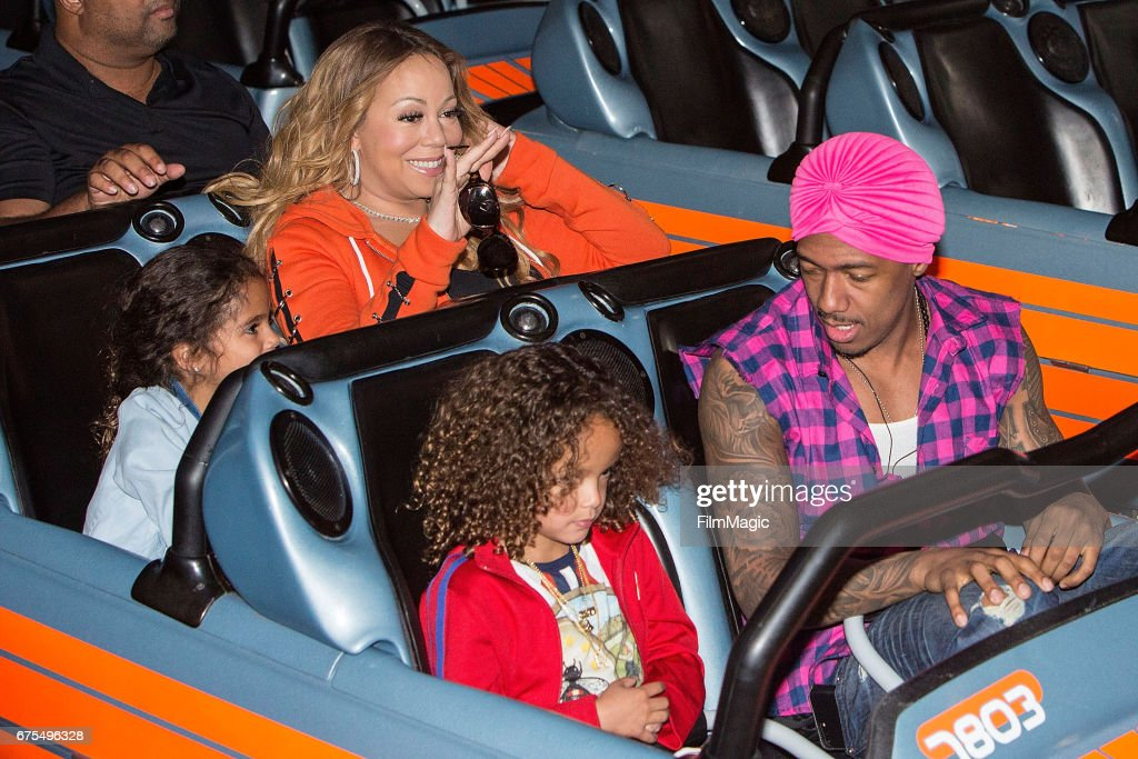 Monroe Cannon, Moroccan Cannon, Mariah Carey, and Nick Cannon ride Space Mountain at Disneyland on April 30, 2017 in Anaheim, California.