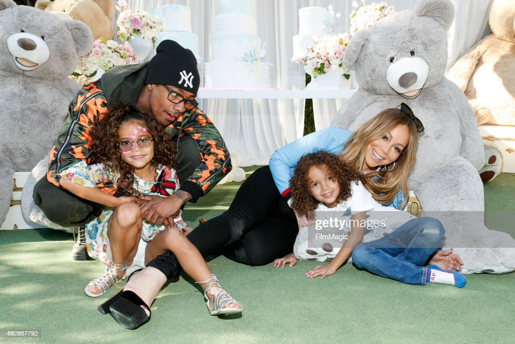 Monroe Cannon, Nick Cannon, Moroccan Scott Canon and Mariah Carey attend the Moroccan Scott Cannon and Monroe Cannon Party on Mary 13 in Los Angeles, California.
