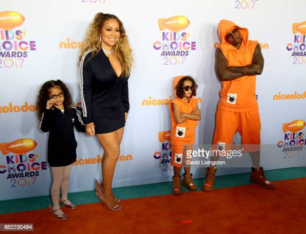Monroe Cannon recording artist Mariah Caery Moroccan Cannon and tv personality Nick Cannon attend Nickelodeon's 2017 Kids' Choice Awards at USC Galen...