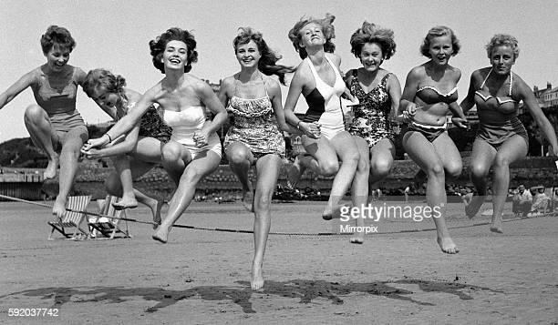 Monroe competition at Newquay Women taking part in a marilyn monroe look alike contest September 1959