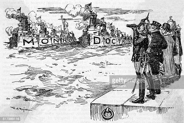 Monroe Doctrine: W.A. Rogers cartoon showing European potentates observing American naval might, ca 1904. From New York Herald. Undated.