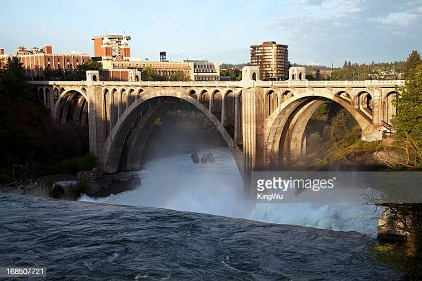 monroe street bridge and spokane falls - washington state stock pictures, royalty-free photos & images