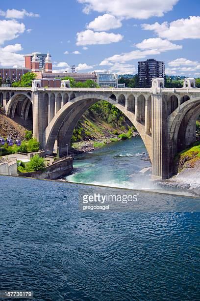 monroe street bridge in spokane, wa - spokane stock pictures, royalty-free photos & images