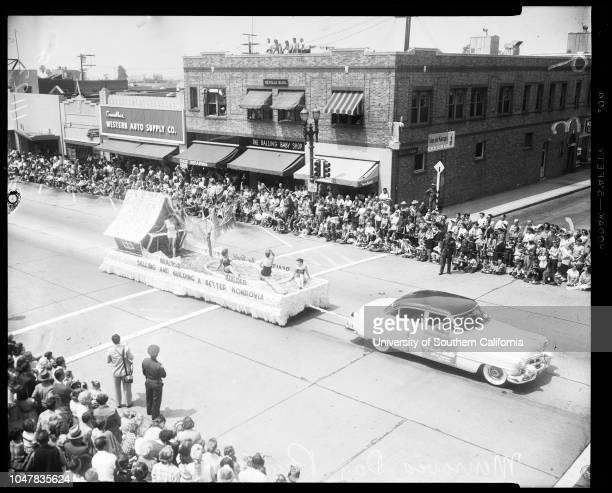 Monrovia Day Parade 22 May 1954 Carol MurrayJeannie DwyerCharles Alquist 3 yearsEugene BiscaliluzDolores Anderson Dorothy HarrisonCarol...