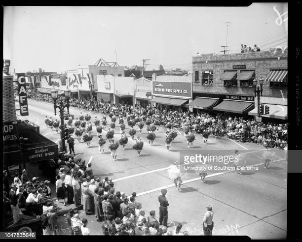 Monrovia Day Parade, 22 May 1954. Carol Murray;Jeannie Dwyer;Charles Alquist - 3 years;Eugene Biscaliluz;Dolores Anderson ;Dorothy Harrison;Carol...