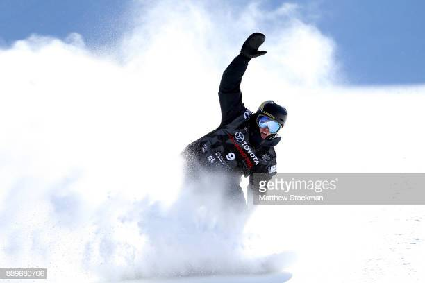 Mons Roisland of Norway celebrates after landing his second jump in the FIS World Cup 2018 Men's Snowboard Big Air final during the Toyota US Grand...