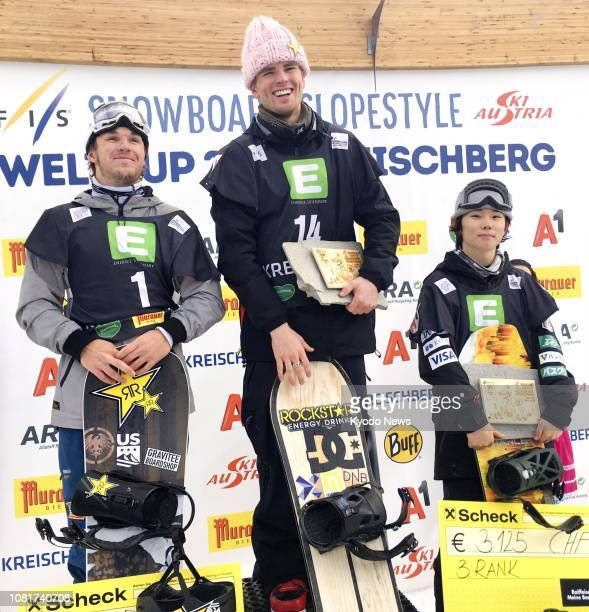 Mons Roisland of Norway poses for photos after winning the men's title at a slopestyle snowboard World Cup event in Kreischberg Austria on Jan 12...