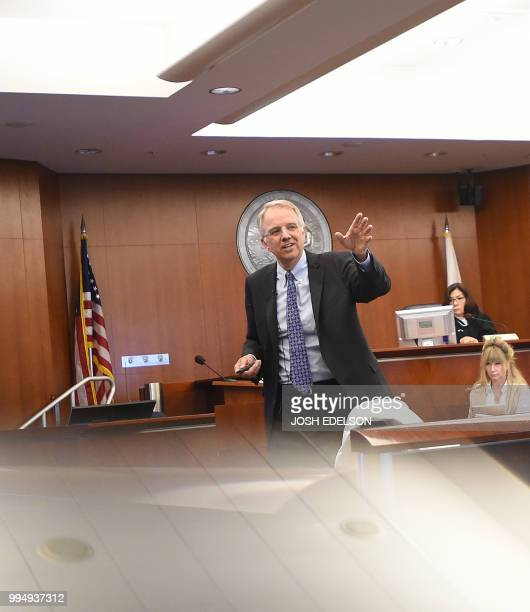 Monsanto defense attorney George Lombardi speaks during the opening remarks of the Monsanto trial in San Francisco California on July 2018 Monsanto...