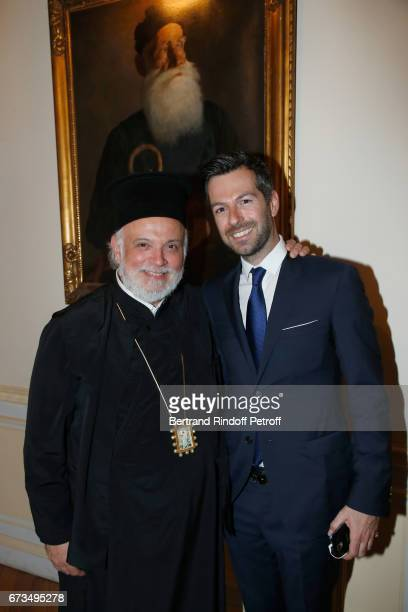 Monseigneur Irenee de Reghion and Christos Markogiannakis attend the presentation of the Book 'Scenes De Crime au Louvre' written by Christos...
