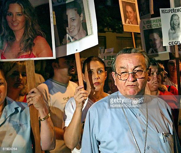 Monsenor Melanio Medina obispo de la Diocesis del departamento de Misiones participa de una marcha de protesta al cumplirse los 100 dias del...