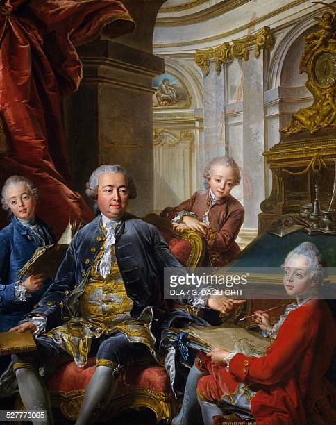 Monsieur Carre de Cande with his three sons painting by Jean Valade 163x130 cm France 18th century