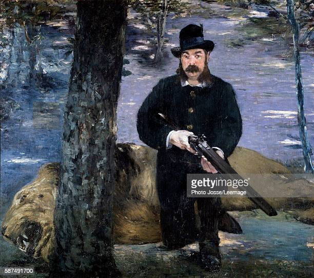 Monsieur Pertuiset A hunter posing near a lion his trophy hunting Painting by Edouard Manet 150x170 cm Museum of Art Sao Paulo Brazil