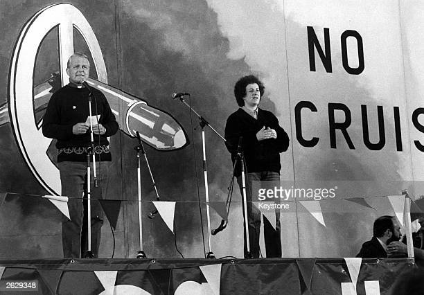 Monsignor Bruce Kent cleric and peace campaigner speaking at a Campaign for Nuclear Disarmament rally in Hyde Park which followed a march through...