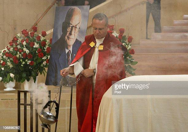 Monsignor Kevin Kostelnik during the funeral for Italian film mogul and Hollywood producer Dino De Laurentiis at the Cathedral of Our Lady of the...