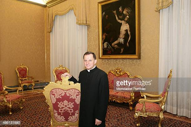 Monsignor Mieczyslaw Mokrzycki posing for a photograph in the Apostolic Palace Vatican City 3rd July 2007