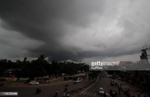 Monsoon rain clouds hovering in the sky before the downpour in the eastern Indian state odisha' capital city Bhubaneswar on 3 August 2019 Monsoon...