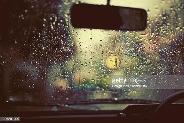monsoon rain on a windshield