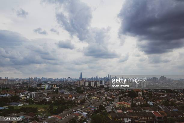 Monsoon season over downtown Kuala Lumpur, Malaysia.