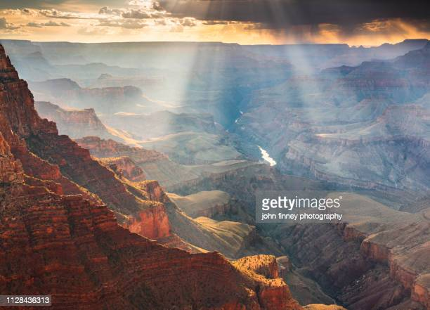 monsoon sunset over the grand canyon, arizona, usa - dramatic landscape stock pictures, royalty-free photos & images