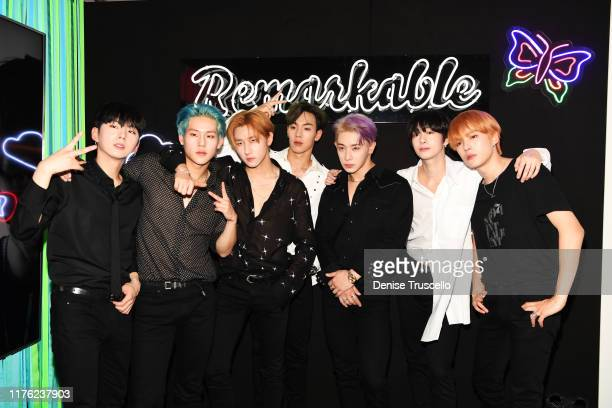 Monsta X attend the Daytime Stage at the 2019 iHeartRadio Music Festival held at the Las Vegas Festival Grounds on September 21 2019 in Las Vegas...