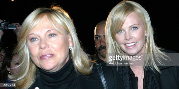 Monster actress Charlize Theron and her mother Gerta Theron arrive for the Charlize Theron tribute at the 2004 Santa Barbara International Film...