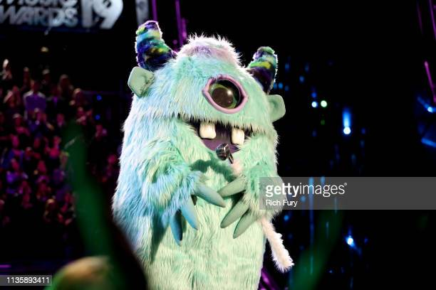 A monster character speaks on stage at the 2019 iHeartRadio Music Awards which broadcasted live on FOX at the Microsoft Theater on March 14 2019 in...